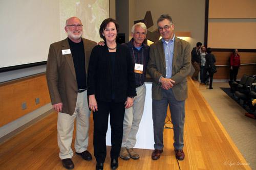 Vice-President, Herron Alumni Association Duane King, Dean Valerie Eickmeier, sculptor Steve Mueller and sculptor John Himmelfarb.