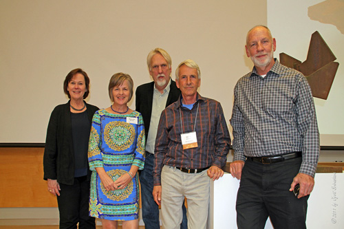 Dean Valerie Eickmeier, with Vectr team Debbie Mueller, Mike Wilkie, Steve Mueller and Barry Hehemann.